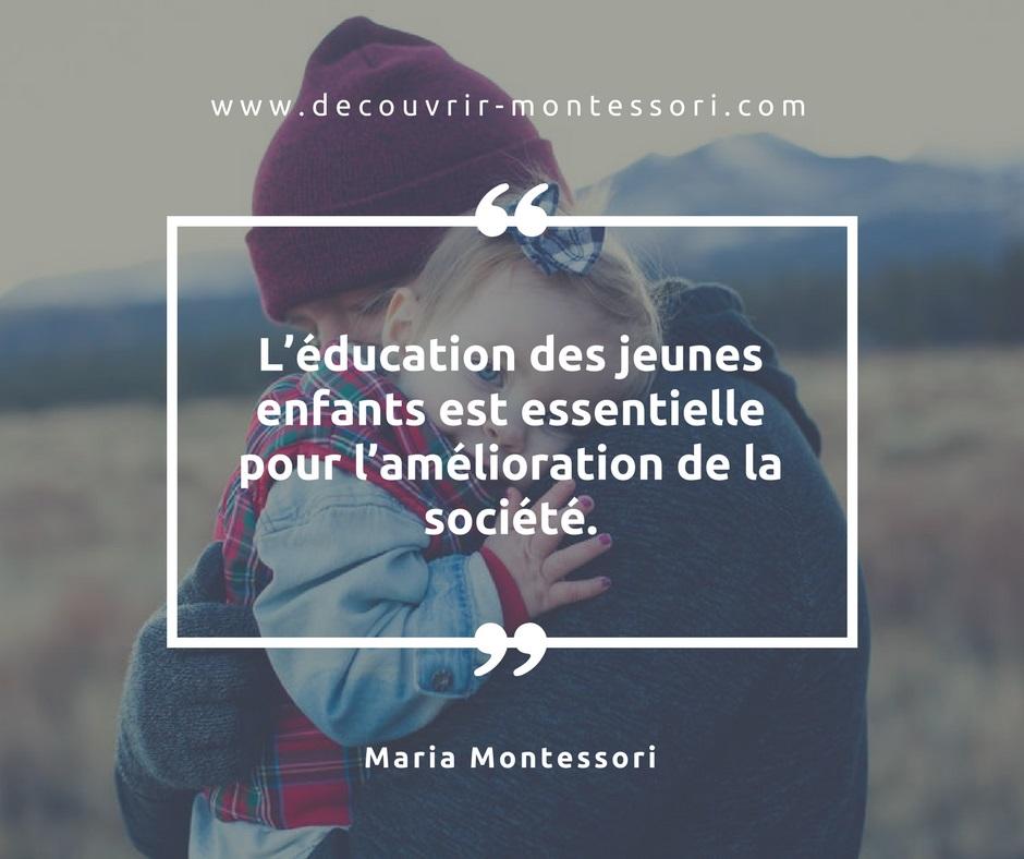 Amélioration de la société via les enfants par Maria Montessori