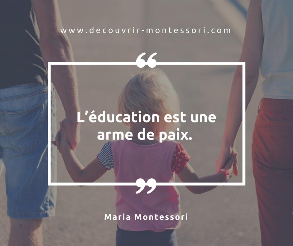 L'éducation et la paix selon Montessori