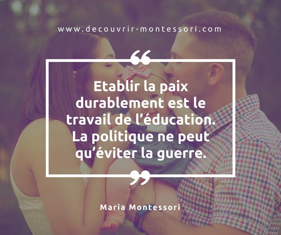 Citation de Maria Montessori sur les effets de l'éducation sur la paix